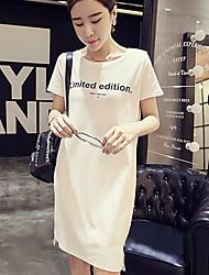baratos -Mulheres Solto Vestido Sólido Assimétrico