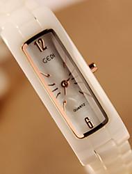 baratos -Mulheres Relógio de Pulso Cerâmica Banda Fashion Dourada