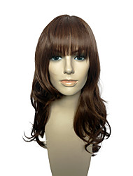 cheap -Wig Brown Color Long Deep Wave Synthetic Fiber Heat Resistant Wig With Neat Bangs