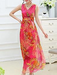 abordables -Balançoire Robe Femme Plage Grandes Tailles simple,Fleur Col en V Midi Sans Manches Rayonne Eté Taille Normale Non Elastique Moyen