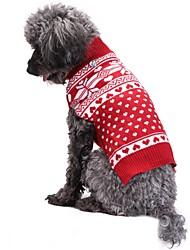 baratos -Gato Cachorro Casacos Súeters Natal Roupas para Cães Fofo Fashion Natal Floco de Neve Vermelho Ocasiões Especiais Para animais de