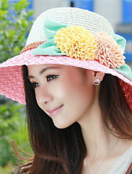 cheap -Women 's Summer Seaside Flower Decoration Sunscreen Large Brimmed Hat Straw Holiday Hat