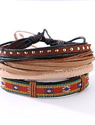 cheap -The New Vintage Cowhide Ancient Hand Woven Bracelet Cortical Layers Hand Rope Men's Bracelet Adjustable Size040