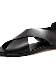 Men's Slippers & Flip-Flops Spring Summer Light Soles Leather Casual  Black White
