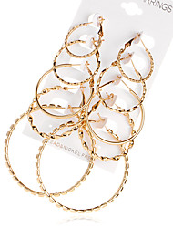 Women's Hoop Earrings Euramerican Fashion Alloy Circle Jewelry For Daily Casual 5 Pairs