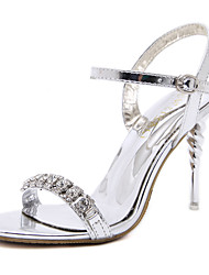 Women's Sandals Spring Summer Comfort Leatherette Dress Casual Stiletto Heel Buckle Walking