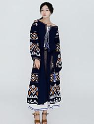 Ample Robe Femme Plein Air Vacances Bohème,Décoration artistique Col Arrondi Mi-mollet Manches Longues Coton Automne Taille Haute Non