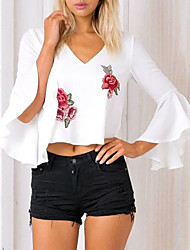 cheap -Women's Flare Sleeve Cotton Blouse - Embroidered V Neck