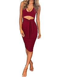 Women's Cut Out Party Simple Sheath Dress,Solid V Neck Knee-length Sleeveless Polyester All Seasons Low Rise Micro-elastic Medium