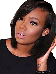 13*6 Lace Front Bob Wigs with Bangs Human Hair Short Bob Wigs for Black Women Brazilian Virgin Hair Lace Bob Cut Wigs Side Part