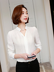 Sign 2017 spring new Korean fashion wild Slim V-neck chiffon shirt female long-sleeved shirt