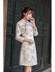 firmare 2016 donne d'epoca&# 39; s autunno nuovi pannelli esterni del vestito letterarie sottili stampati cheongsam pizzo