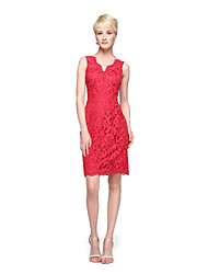 cheap -Sheath / Column Straps Knee Length Lace Bridesmaid Dress with Appliques by LAN TING BRIDE®