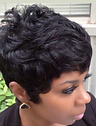 cheap -Short Natural Wave Pixie Cut With Bangs Machine Made Human Hair Wigs Short Natural Black Medium Auburn/Bleach Blonde Strawberry