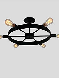 6 Heads Vintage Black Metal Wheel Semi Flush Mount Ceiling Light Living Room Dining Room lighting Painted Finish