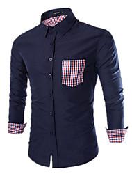 Men's Fashion Casual Pocket Simple Plaid Decorative Long Sleeve Shirt