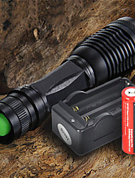 cheap -LED Flashlights / Torch LED 1200 lm 5 with Battery and Charger Adjustable Focus Black Camping / Hiking / Caving