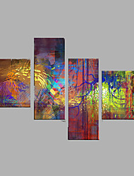 Hand-Painted Abstract Animal Horizontal,Modern Four Panels Canvas Oil Painting For Home Decoration