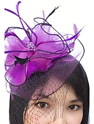 cheap -Feather Net Fascinators Headwear Birdcage Veils with Floral 1pc Wedding Special Occasion Headpiece