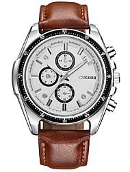 abordables -Hombre Cuarzo Reloj de Pulsera Chino Gran venta PU Banda Casual Reloj de Vestir Moda Cool Marrón