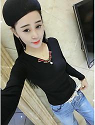 Знак 2017 весной новой женской рубашке с длинными рукавами корейской версии выращивания диких шею футболку рубашку