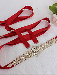 cheap -Satin Wedding / Party / Evening / Dailywear Sash With Rhinestone / Beading / Imitation Pearl Sashes