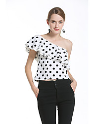 segno modelli esplosione commerciale di Aliexpress amazon 2017 nuove donne&# 39; s spalla in chiffon dot camicia di Polka