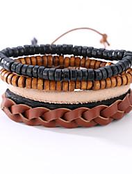 cheap -The New Vintage Cowhide Ancient Hand Woven Bracelet Cortical Layers Hand Rope Men's Bracelet Adjustable Size042