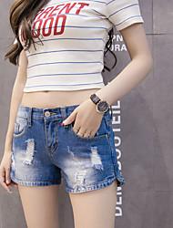 Hole high waist denim shorts female summer loose Korean students a simple and wide leg pants wild 5011 #