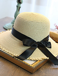 cheap -Women's Fashion Straw Hat Sun Hat Wide Brim Hat Cute Casual Solid Bowknot Beach Summer Beige/Royal Blue/Fuchsia