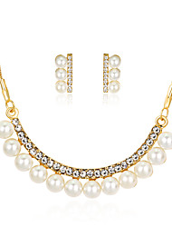 cheap -Women's Pearl Jewelry Set - Imitation Pearl, Rhinestone, Gold Plated Classic, Fashion Include Gold For Party / Gift / Daily