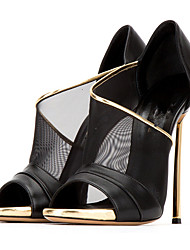 economico -Da donna-Sandali-Matrimonio Tempo libero Formale Casual Serata e festa-Comoda Innovativo Club Shoes-A stiletto-Montone Tulle-Nero