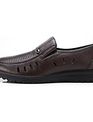 Camel Men's Business Casual Breathable Cow Leather Pull on Shoes Color Brown/Black