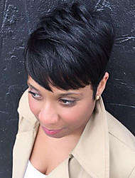 abordables -Pelo humano pelucas sin tapa Cabello humano Recto Corte Pixie Con flequillo Parte lateral Corta Hecho a Máquina Peluca Mujer