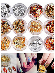 cheap -12PCS Mixed Color Foil Nail Art Decoration Golden Silver Colorful Foil
