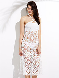 cheap -Women's Halter One-piece / Cover-Up,Tassels / Solid Lace White