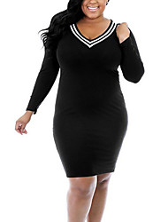 Women's Plus Size Casual/Daily Club Simple Street chic Over Hip Hin Thin Fashion Bodycon DressColor Block V Neck Above Knee Long Sleeve