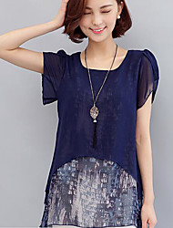 2017 женщин большого размера&Летняя шифоновая рубашка плюс удобрение для увеличения жира сестра жир мм свободные короткими рукавами
