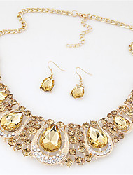 cheap -Women's Crystal Jewelry Set - Crystal, Rhinestone Fashion, Euramerican Include Necklace / Earrings Rainbow / Light Yellow / Red For Wedding Party Special Occasion