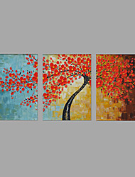 Hand-Painted Floral/Botanical Red Cherry Tree 3 Panels Canvas Oil Painting For Home Decoration with Stretched Framed
