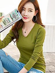 Sign spring new Korean female long-sleeved t-shirt big yards Slim V-neck white cotton shirt compassionate