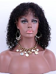 baratos -Cabelo Humano Renda Frontal sem Cola Frente de Malha Peruca Kinky Curly Peruca 130% Densidade do Cabelo Riscas Naturais Peruca Afro Americanas 100% Feita a Mão Mulheres Curto Médio Longo Perucas de