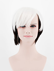 cheap -Women Synthetic Wigs Japan and South Korea fashion Ombre white black short oblique Bangs straight hair Heat Friendly Fiber wig