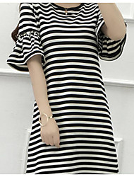 Sign new long section of Buru Yi Xia-shirt fashion Slim thin short-sleeved striped horn spot