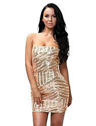 Women's Rose Gold Sequined Strapless Nightclub Dress