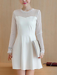 Sign in spring 2017 Korean version of the new ladies temperament was thin gauze long-sleeved A-line skirt dress women