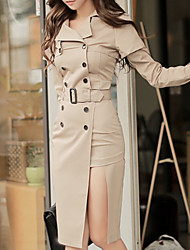 Women's Business Date Street Casual/Daily Office & Career Simple A Line Dress,Solid Color Shirt Collar Knee-length Long Sleeves N/A Fall