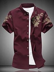 cheap -Men's Daily Casual T-shirt,Floral Shirt Collar Short Sleeves Cotton