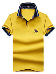 cheap -Men's Active Street chic Plus Size Cotton Polo - Solid Colored Embroidered Shirt Collar