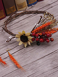 Flax Fabric Headpiece-Wedding Special Occasion Casual Outdoor Tiaras Wreaths 3 Pieces